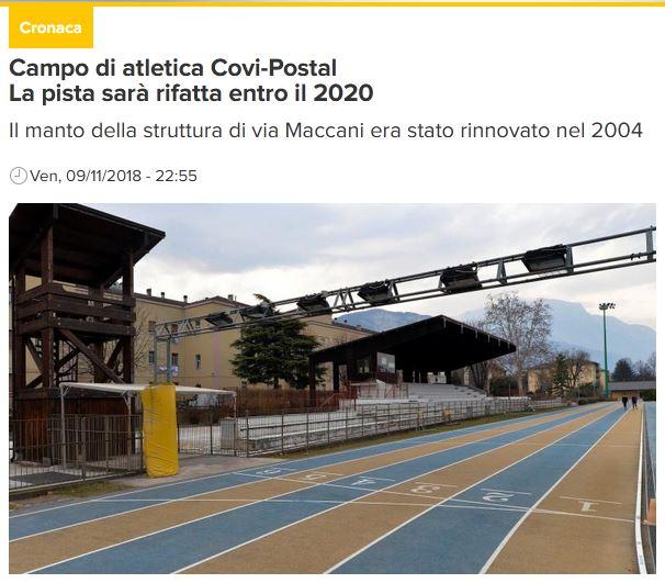 """Retopping pista di atletica """"Covi e Postal"""" – Trento"""