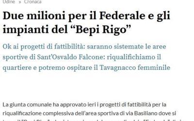 """Riqualificazione impianti sportivi per il calcio a Udine – """"Bepi Rigo"""" e """"Federale"""""""